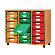 Storsystem 27 Tray Tall Wood Cabinet; Primary Red