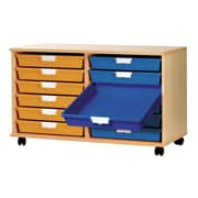 Storsystem 12 Tray Extra Wide Wood Cabinet; Primary Green
