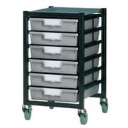 Storsystem 6 Tray Standard Width Mobile Metal Rack; Light Gray