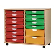 Storsystem 18 Tray Wood Cabinet; Primary Green