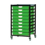 Storsystem 9 Tray Extra Wide Mobile Metal Rack; Primary Green