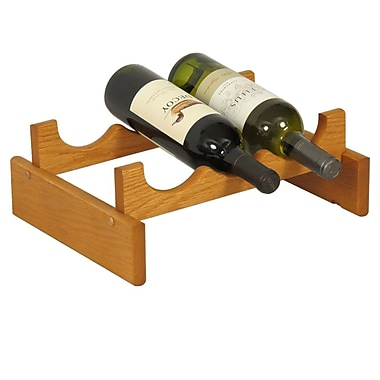 Wooden Mallet Dakota 3 Bottle Tabletop Wine Rack; Medium Oak