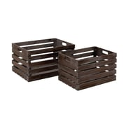 Woodland Imports 2 Piece Wood Wine Crate Set