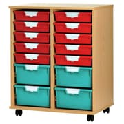 Storsystem 18 Tray Tall Wood Cabinet; Primary Red