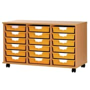 Storsystem 18 Tray Low Wood Cabinet; Primary Red