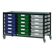 Storsystem 18 Tray Low Mobile Metal Rack; Primary Green