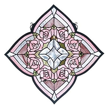 Meyda Tiffany Victorian Ring of Roses Stained Glass Window