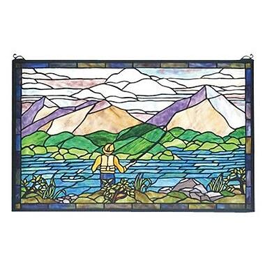 Meyda Tiffany Fly Fishing Stained Glass Window