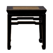 Antique Revival Chinese-Style End Table with Rattan Top; Black