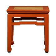 Antique Revival Chinese-Style End Table w/ Rattan Top; Orange