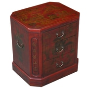 EXP D cor Handmade Oriental Antique End Table; Distressed Red