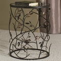 Dalton Home Collection Large Barrel Table with Leaves and Removable Glass Top