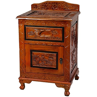 Oriental Furniture Carved End Table