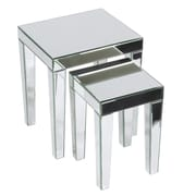 Ave Six 2 Piece Nesting Tables; Silver Mirror