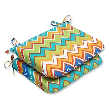 Pillow Perfect Zig Zag Outdoor Seat Cushion (Set of 2); Orangeaide