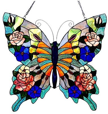 Chloe Lighting Tiffany Butterfly Window Panel WYF078276727481