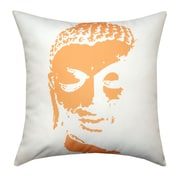 Divine Designs Buddha Face Indoor/Outdoor Throw Pillow; White