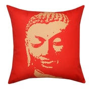 Divine Designs Buddha Face Indoor/Outdoor Throw Pillow; Red