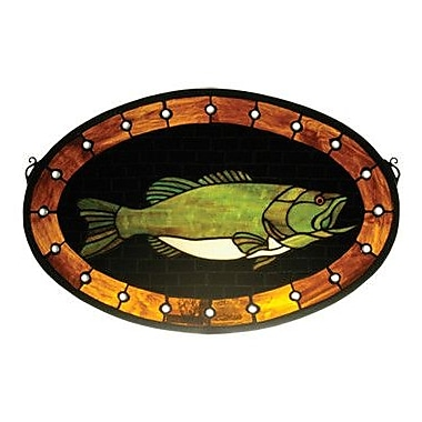 Meyda Tiffany Lodge Tiffany Recreation Bass Plaque Stained Glass Window