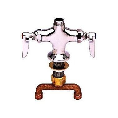 T&S Brass Deck Mount Centerset Faucet w/ Swivel Gooseneck Spout