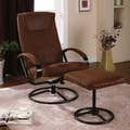 InRoom Designs Reclining Chair and Ottoman; Rustic Brown