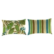 Jordan Manufacturing Reversible Outdoor Throw Pillow; Marley Emerald / Chino Stripe Emerald