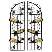 Metrotex Designs French Vineyard 6 Bottle Wine Rack (Set of 2); Black Meteor