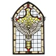 Meyda Tiffany Tiffany Gothic Religious Holiday Dove Cross Stained Glass Window Insert