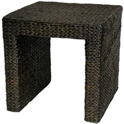 Oriental Furniture Rush Grass End Table; Black
