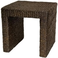 Oriental Furniture Rush Grass End Table; Red Brown