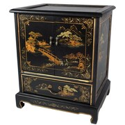 Oriental Furniture Japanese End Table; Black Crackle