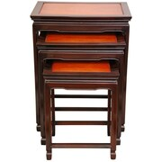 Oriental Furniture 3 Piece Nesting Tables; Honey and Cherry