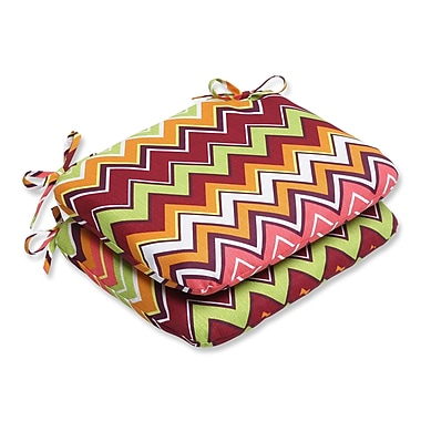 Pillow Perfect Zig Zag Outdoor Seat Cushion (Set of 2); Raspberry