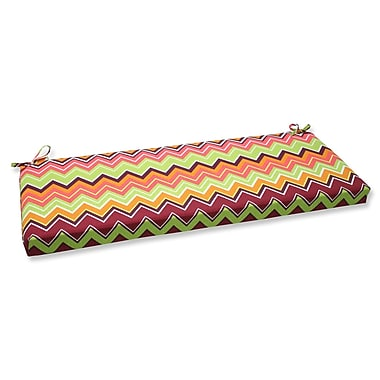 Pillow Perfect Zig Zag Outdoor Bench Cushion; Raspberry