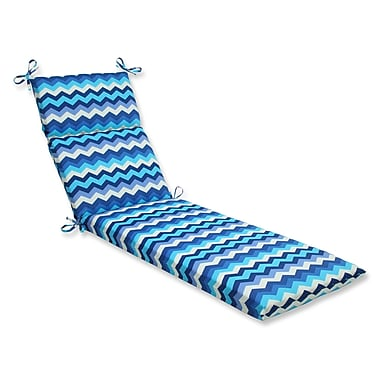 Pillow Perfect Panama Wave Outdoor Chaise Lounge Cushion; Azure