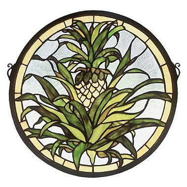 Meyda Tiffany Welcome Pineapple Medallion Stained Glass Window