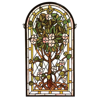 Meyda Tiffany Victorian Arched Tree of Life Stained Glass Window