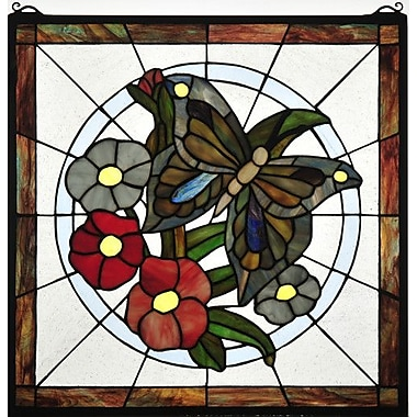 Meyda Tiffany Butterfly Floral Stained Glass Window
