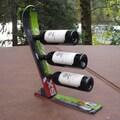Ski Chair Snow 3 Bottle Tabletop Wine Rack; Black/Green/White