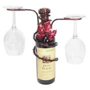 Metrotex Designs Grapevine Style Iron 2 Stem Holder Wine Bottle Topper; Merlot