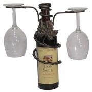 Metrotex Designs Grapevine Style Iron 2 Stem Holder Wine Bottle Topper; Meteor