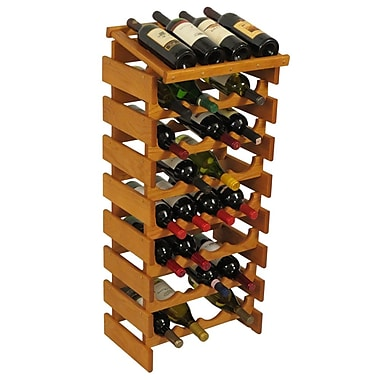 Wooden Mallet Dakota 32 Bottle Floor Wine Rack; Medium Oak