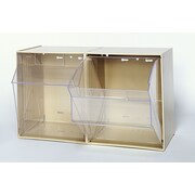 Quantum Clear Tip Out Bins (2 Compartments); Ivory