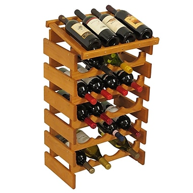 Wooden Mallet Dakota 24 Bottle Floor Wine Rack; Medium Oak