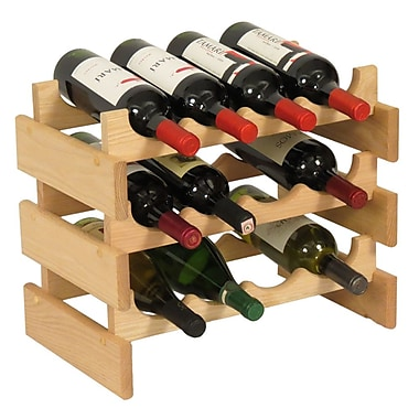 Wooden Mallet Dakota 12 Bottle Floor Wine Rack; Unfinished
