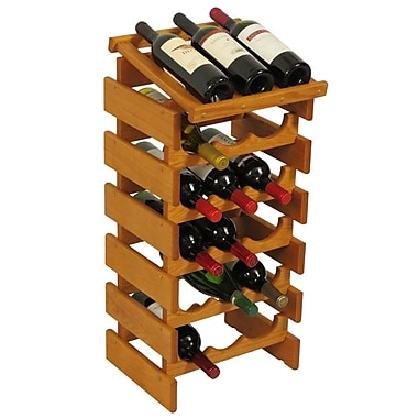 Wooden Mallet Dakota 18 Bottle Floor Wine Rack; Medium Oak