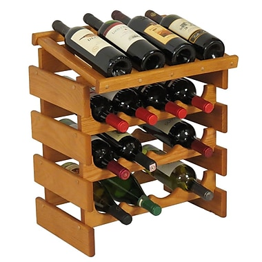 Wooden Mallet Dakota 16 Bottle Tabletop Wine Rack; Medium Oak