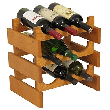 Wooden Mallet Dakota 9 Bottle Tabletop Wine Rack; Medium Oak