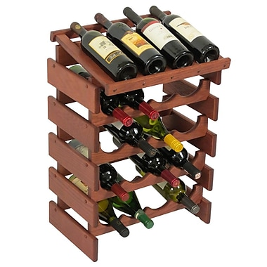 Wooden Mallet Dakota 20 Bottle Floor Wine Rack; Mahogany