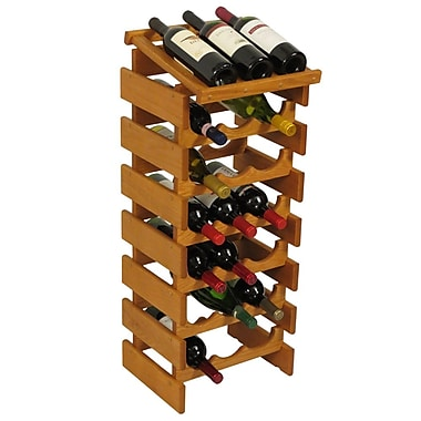 Wooden Mallet Dakota 21 Bottle Floor Wine Rack; Medium Oak